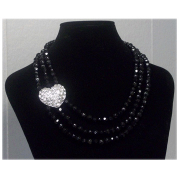 3 Row Crystal & Bead Necklace