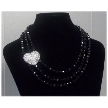 3 Row Crystal & Bead Necklace