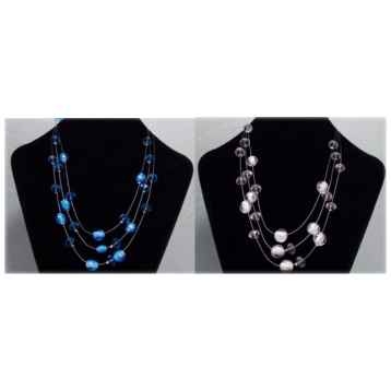 3 Wire Crystal & Bead Effect Necklace