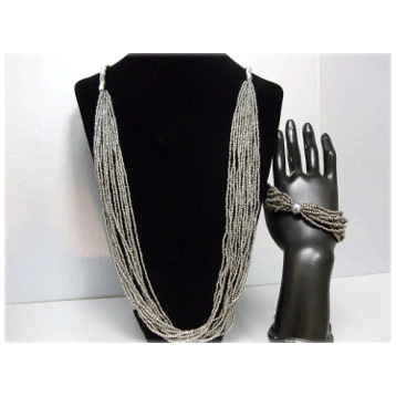 Bead & Bendy Necklace Pewter