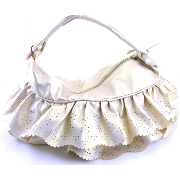 Metallic Skirt Bag in Cream